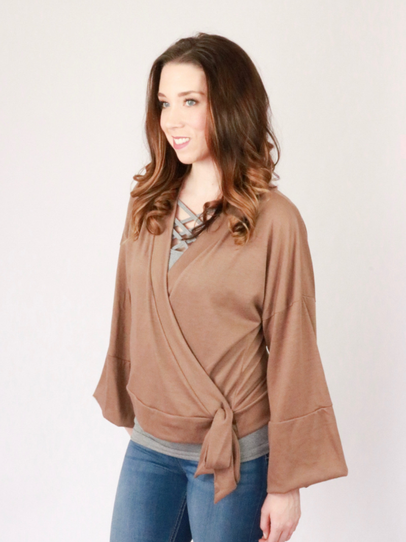 Evelyn Kimono Top - Mocha - Just Gorgeous Darling Boutique