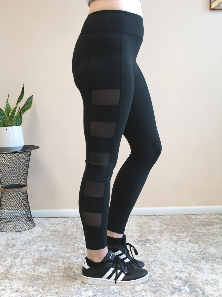 Lexie Athletic Leggings with Mesh Panel