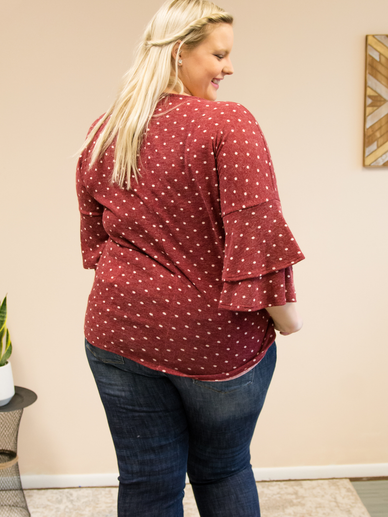 Polka Dot Flounce Sleeve Top | Burgundy