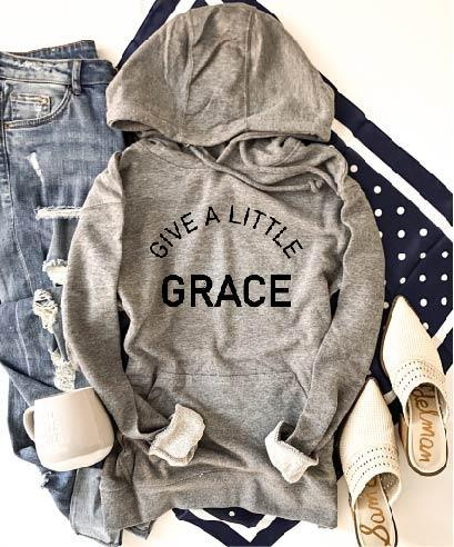 PREORDER | GRAPHIC Hoodie - Give a Little Grace Grey