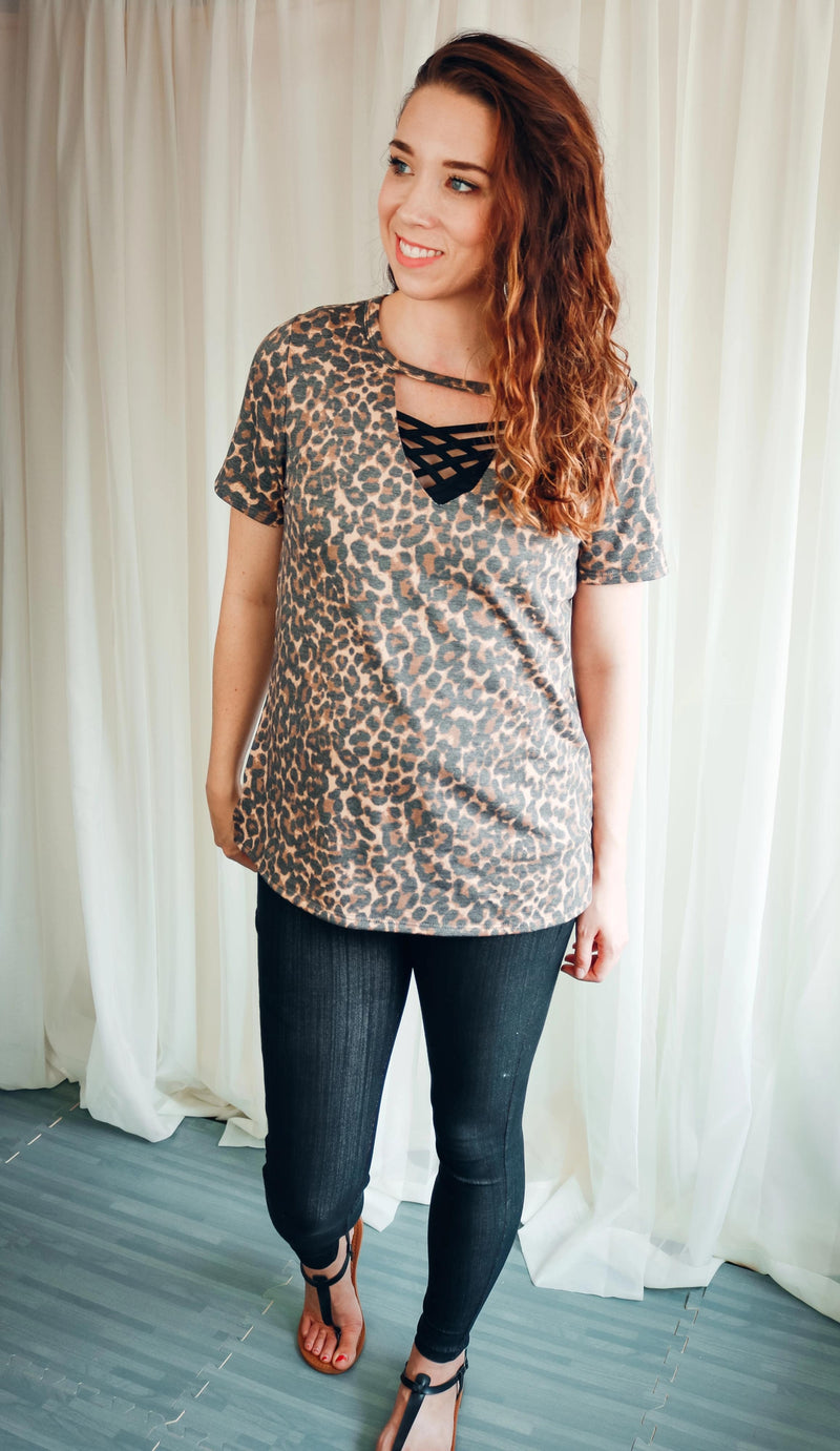 Leopard Print Keyhole Tee Shirt Plus Size and Reg Size