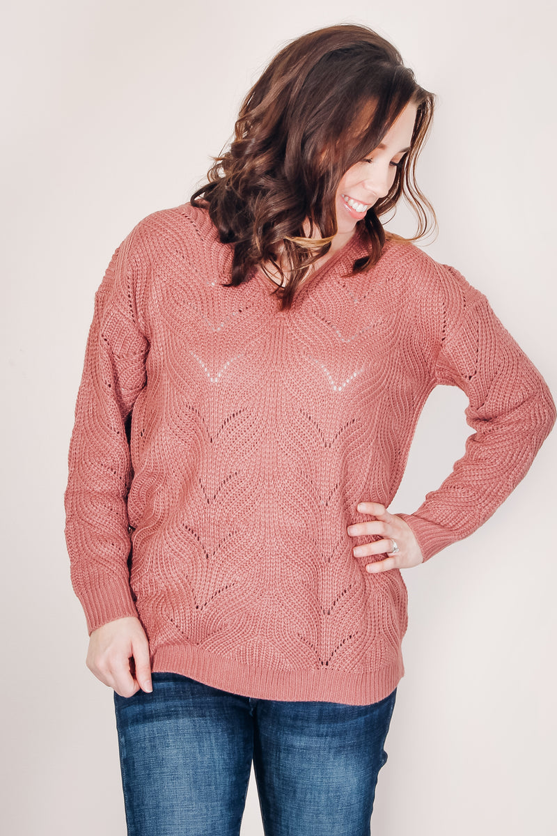 Mauve Eyelet Sweater