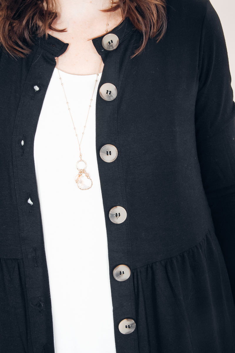 DOOR BUSTER | Button Down Cardi (Black)