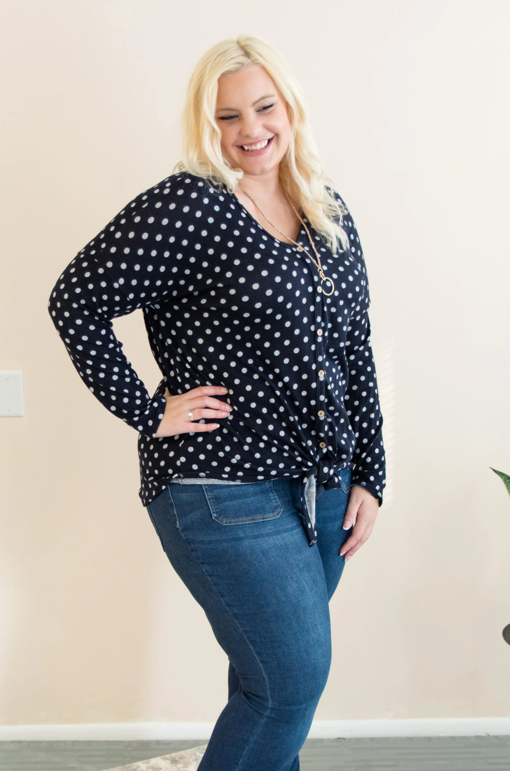 Polka Dot Top | Navy