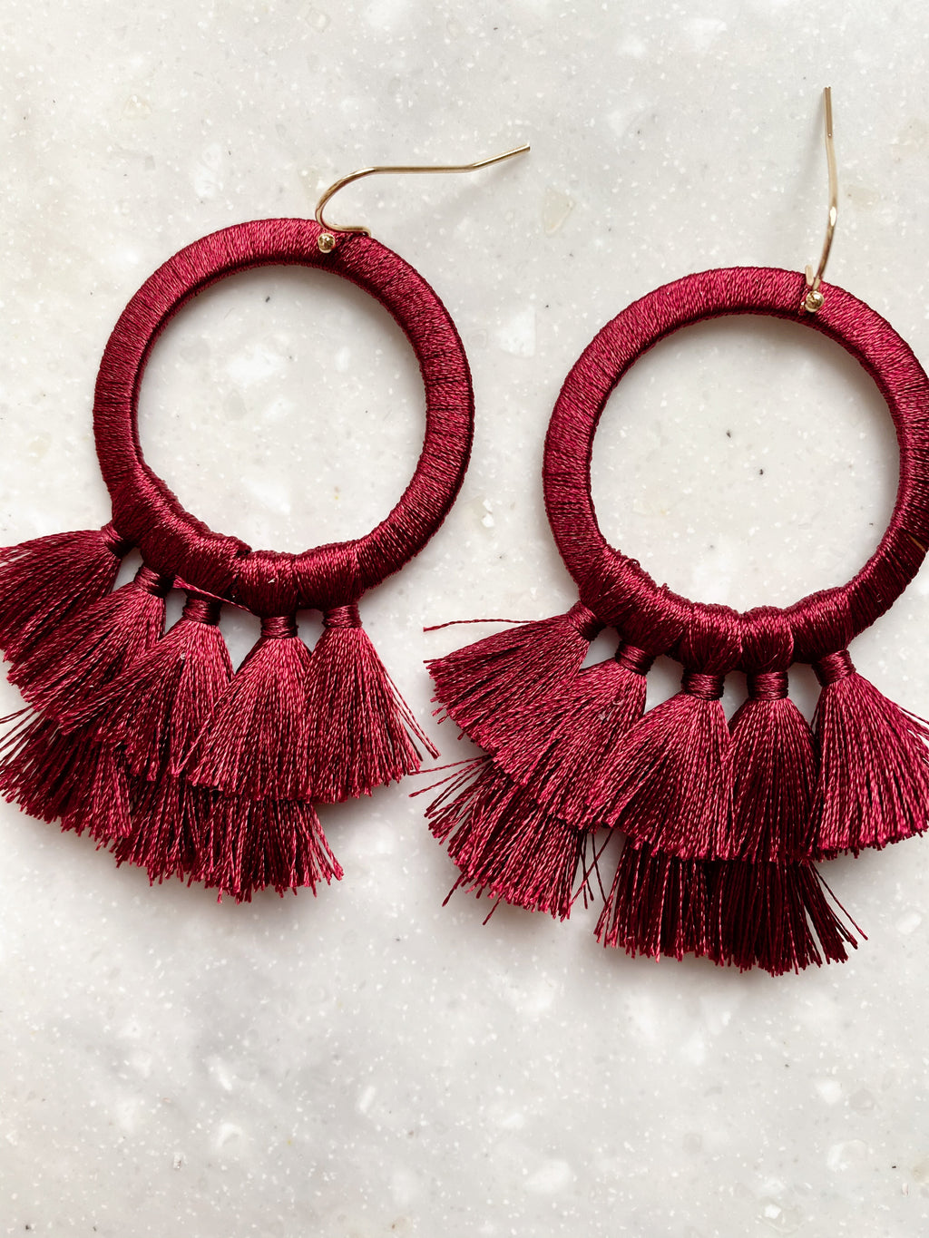 Thread Wrapped Earrings | Red