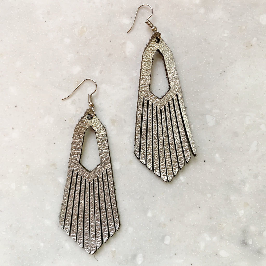 Leather Fringe Earrings | Silver