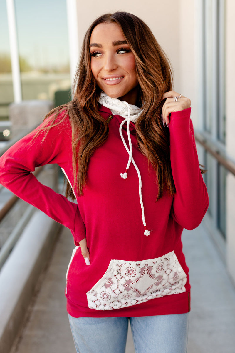 Ampersand Ave Double Hood | Red & Lace