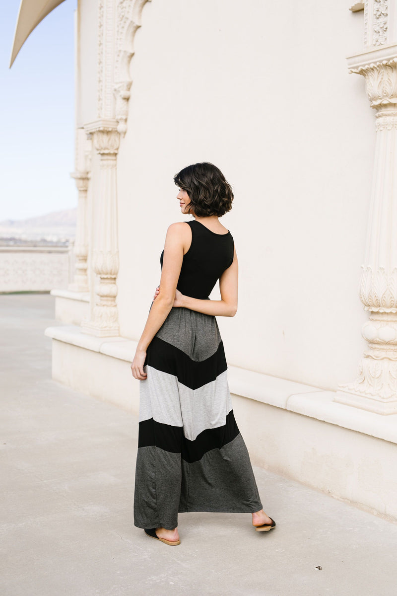 Chevron Skirt Tank Maxi Dress
