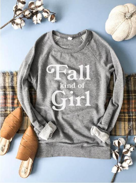 PREORDER | GRAPHIC Sweatshirt - Fall Kind of Girl Grey