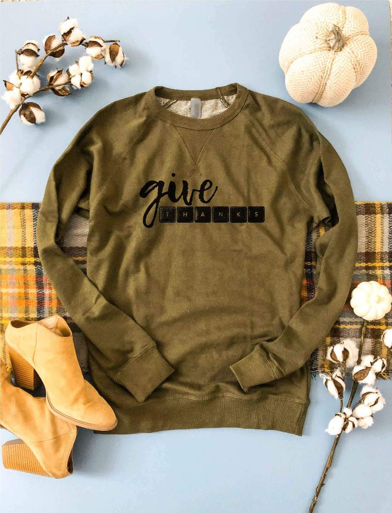 PREORDER | GRAPHIC Sweatshirt - Give Thanks Olive