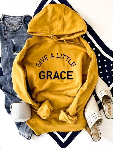 PREORDER | GRAPHIC Hoodie - Give a Little Grace Mustard
