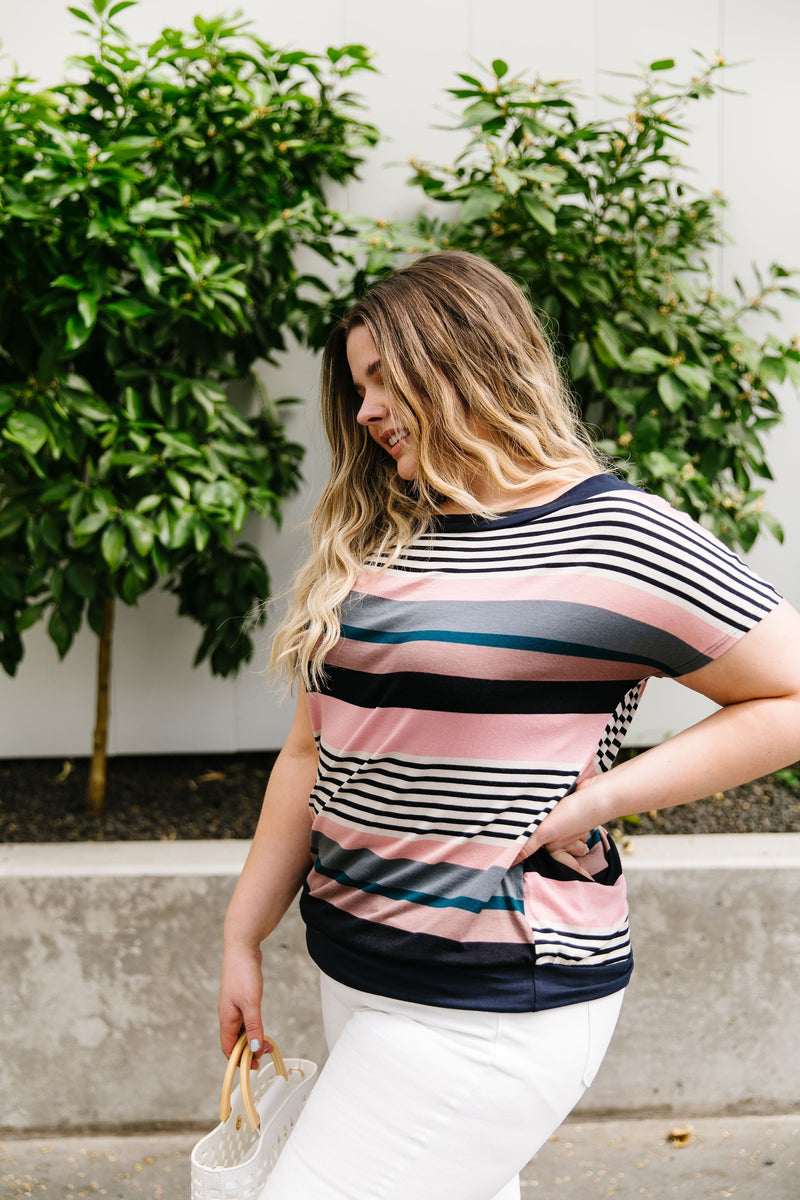 Happy Stripes Boatneck Top In Pink