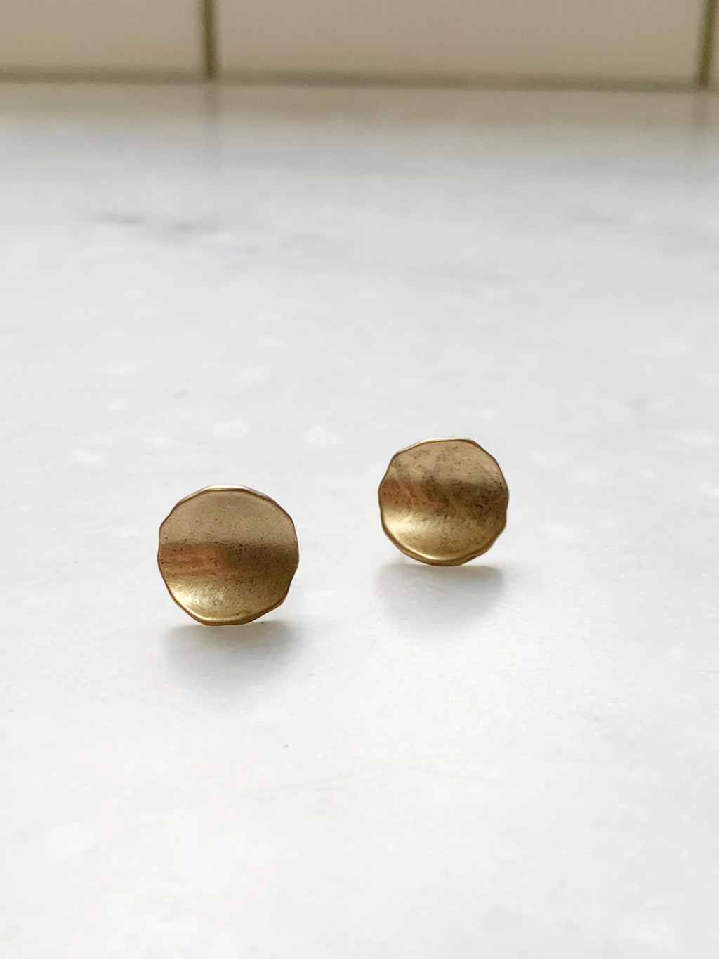 Brushed Gold Stud Earring