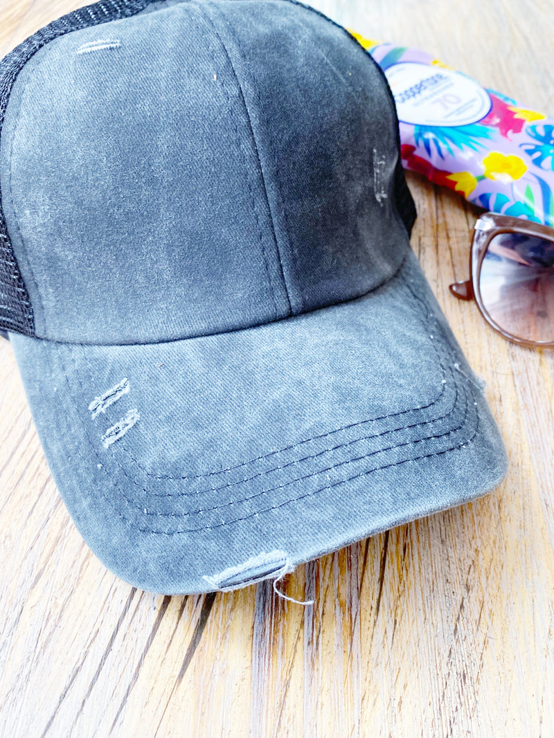 Criss Cross Ponytail Hat | Distressed Black