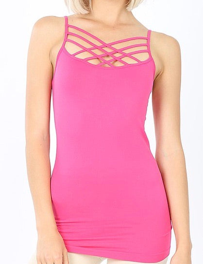 Criss Cross Cami - Hot Pink