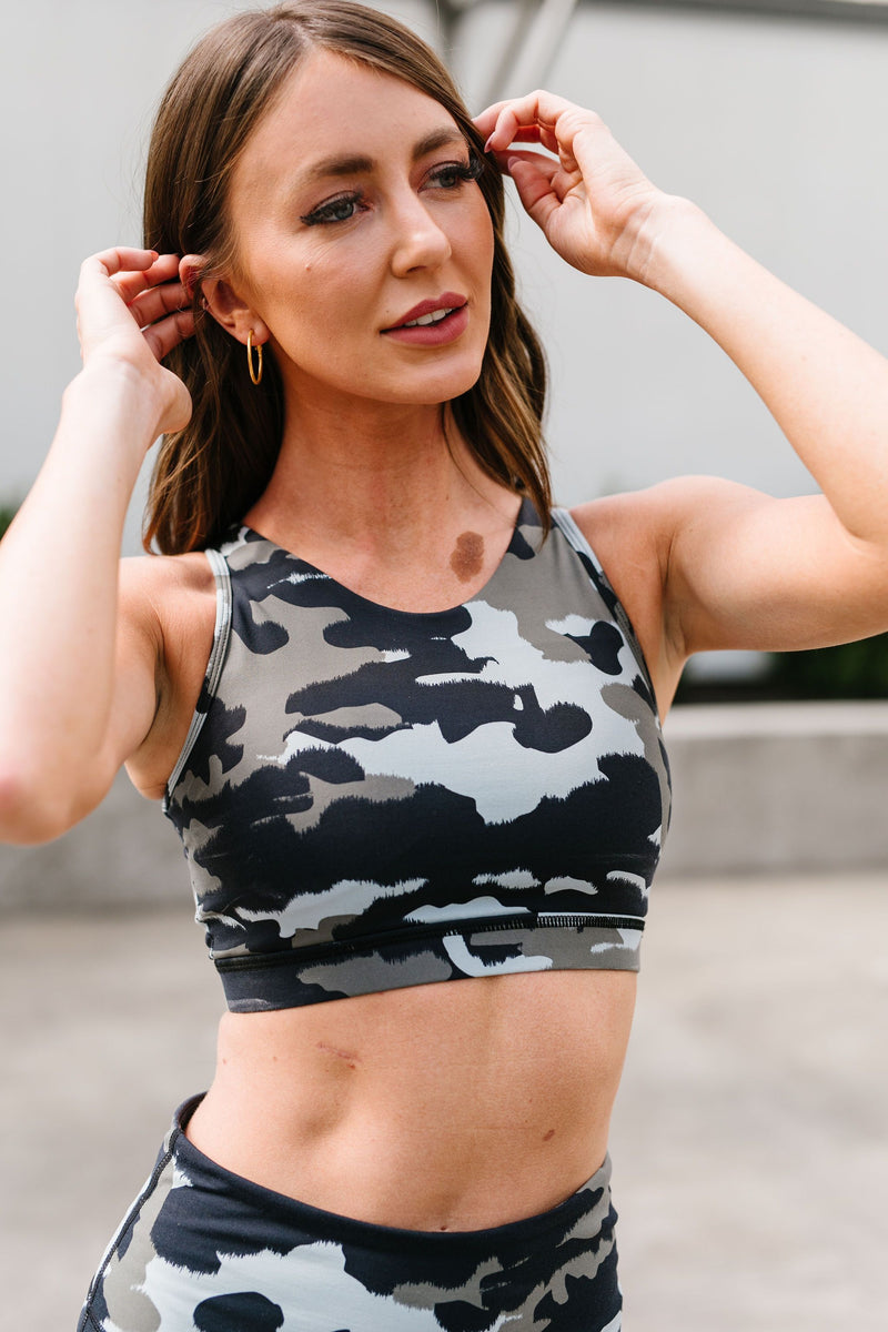 Jungle Camo Ladder Back Sports Bra