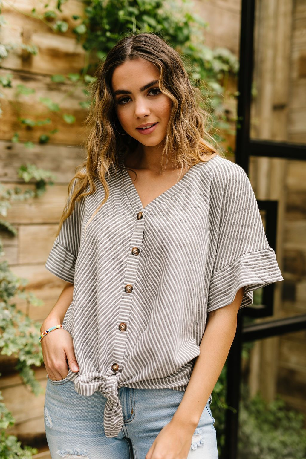Perfect Type Pinstripe Top In Gray