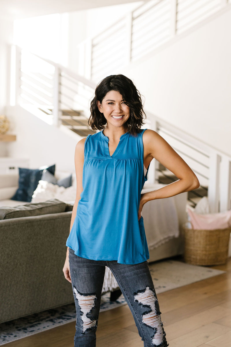 Split Second Top In Cornflower