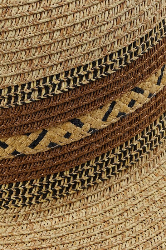 Straw Panama Hat with Weave Detail