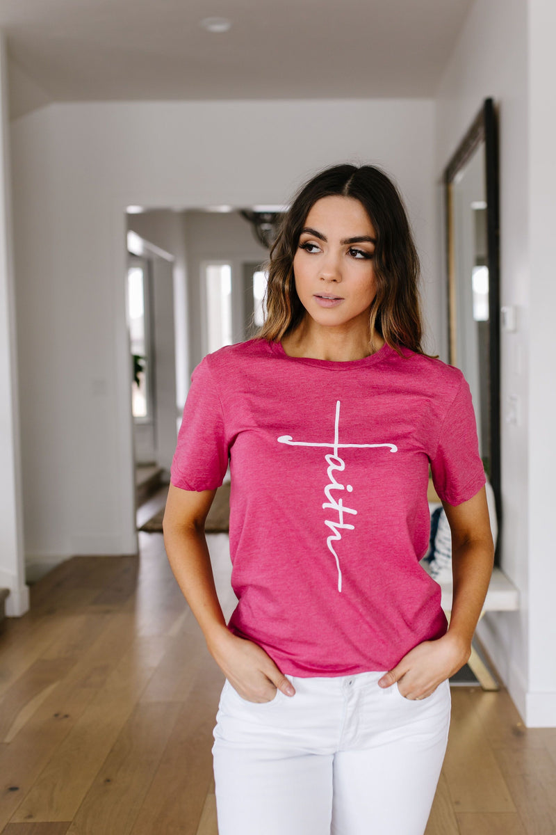 Vertical Faith Graphic Tee In Heathered Berry