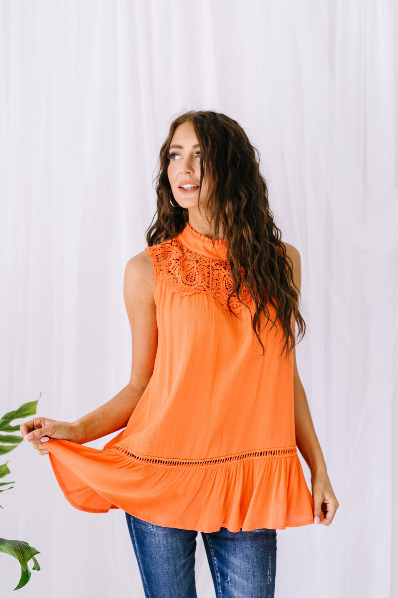 Victoria Lace Mock Neck Top In Orange