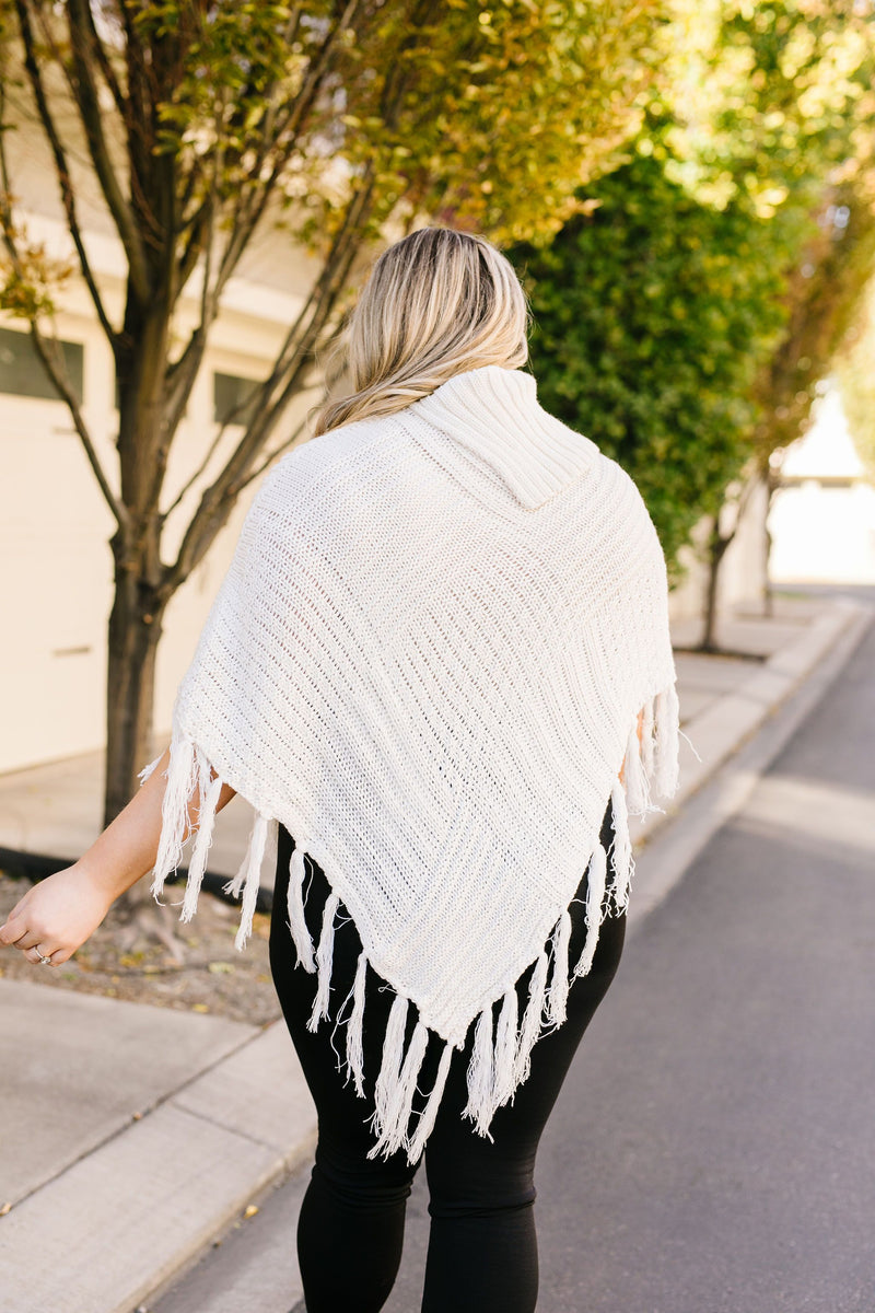 Working Overtime Sweater Poncho In Ivory