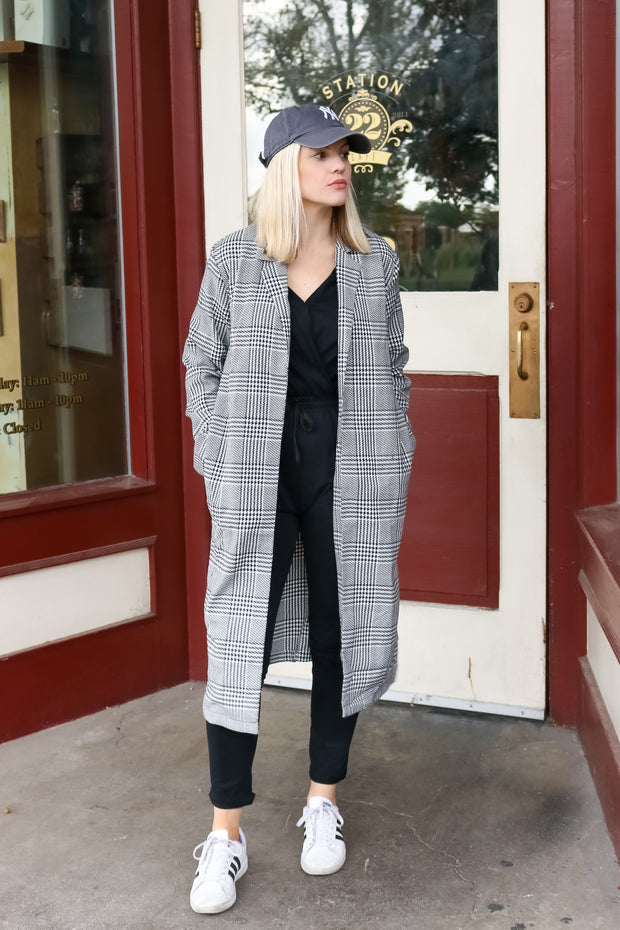 Houndstooth Oversized Duster - Welles and Company