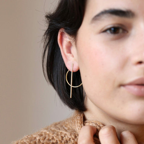 Circle Bar Stud Earrings by Lisa Angel - Welles and Company