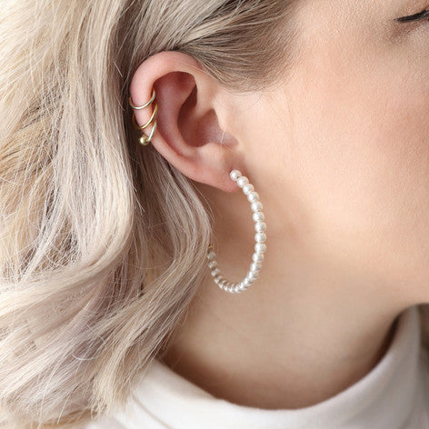 Pearl Hoop Earrings - Welles & Company