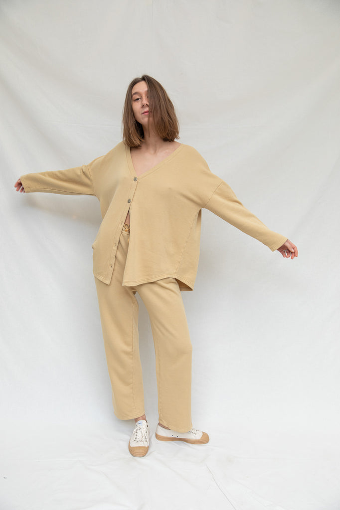 Ribbed Cotton Cardigan in Curry