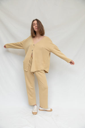 Cardigan & Pants Set in Curry