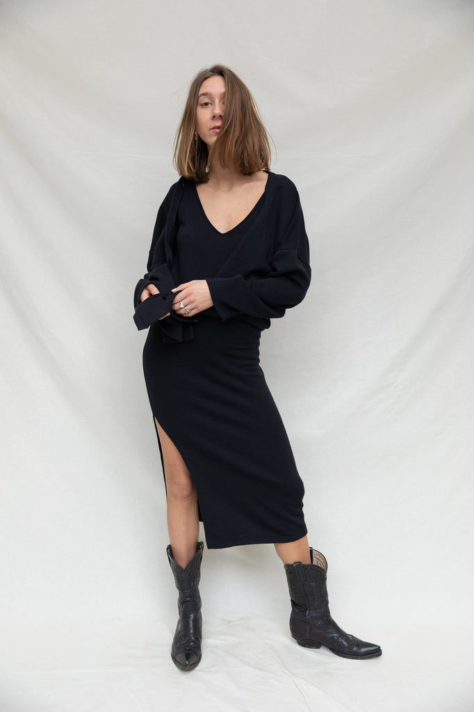 Cardigan & Dress Set in Black