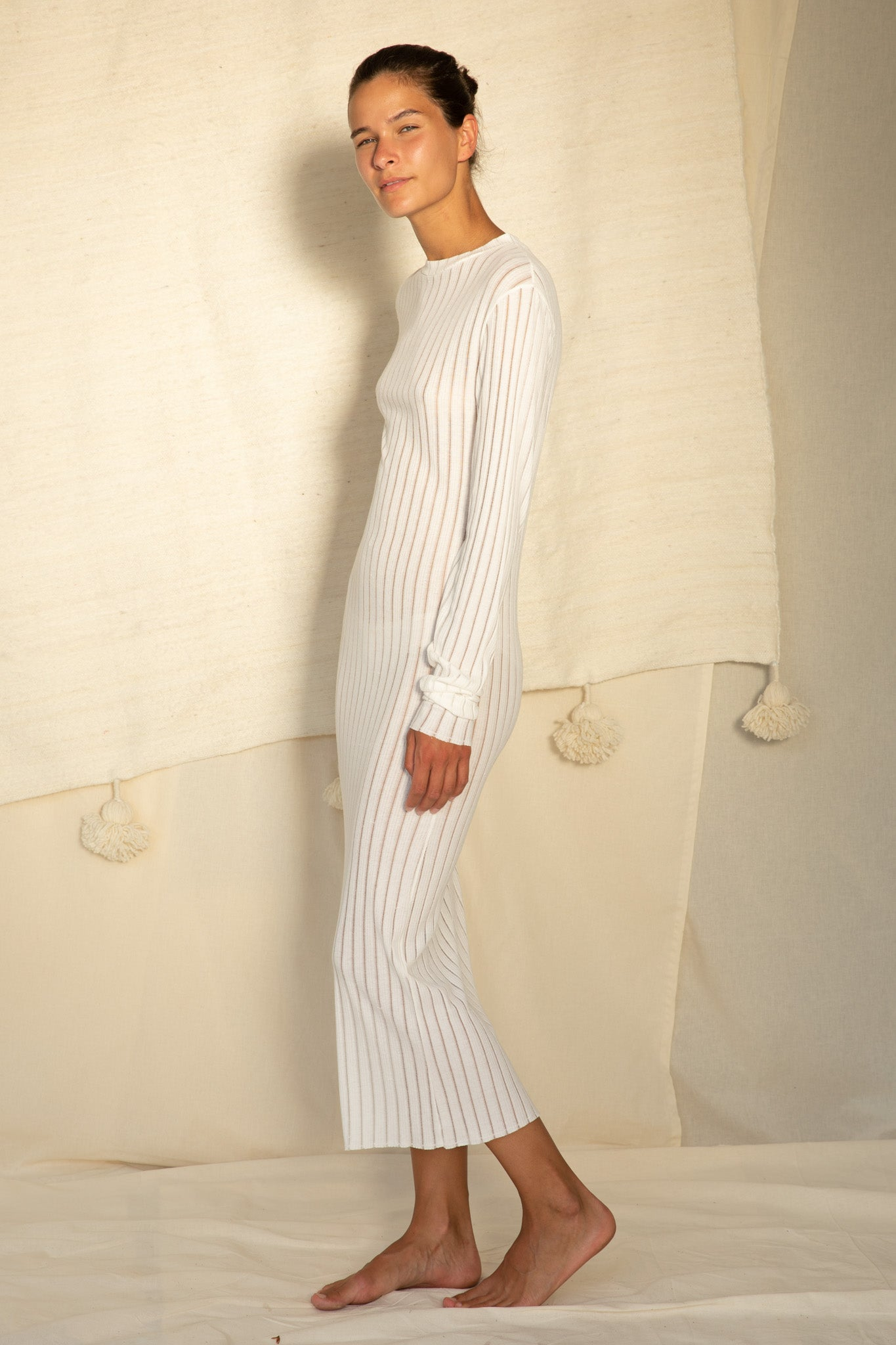 Skinny Dress L/S in Off White