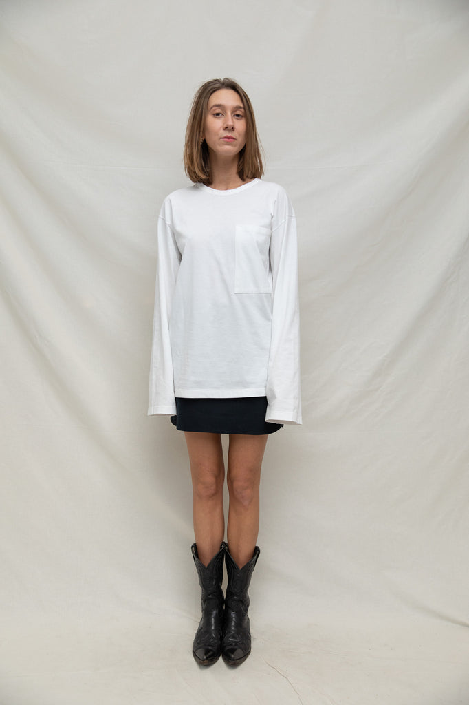 Unisex Pocket T-Shirt L/S in Cotton