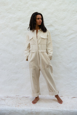 Raw Cotton Silk Jumpsuit