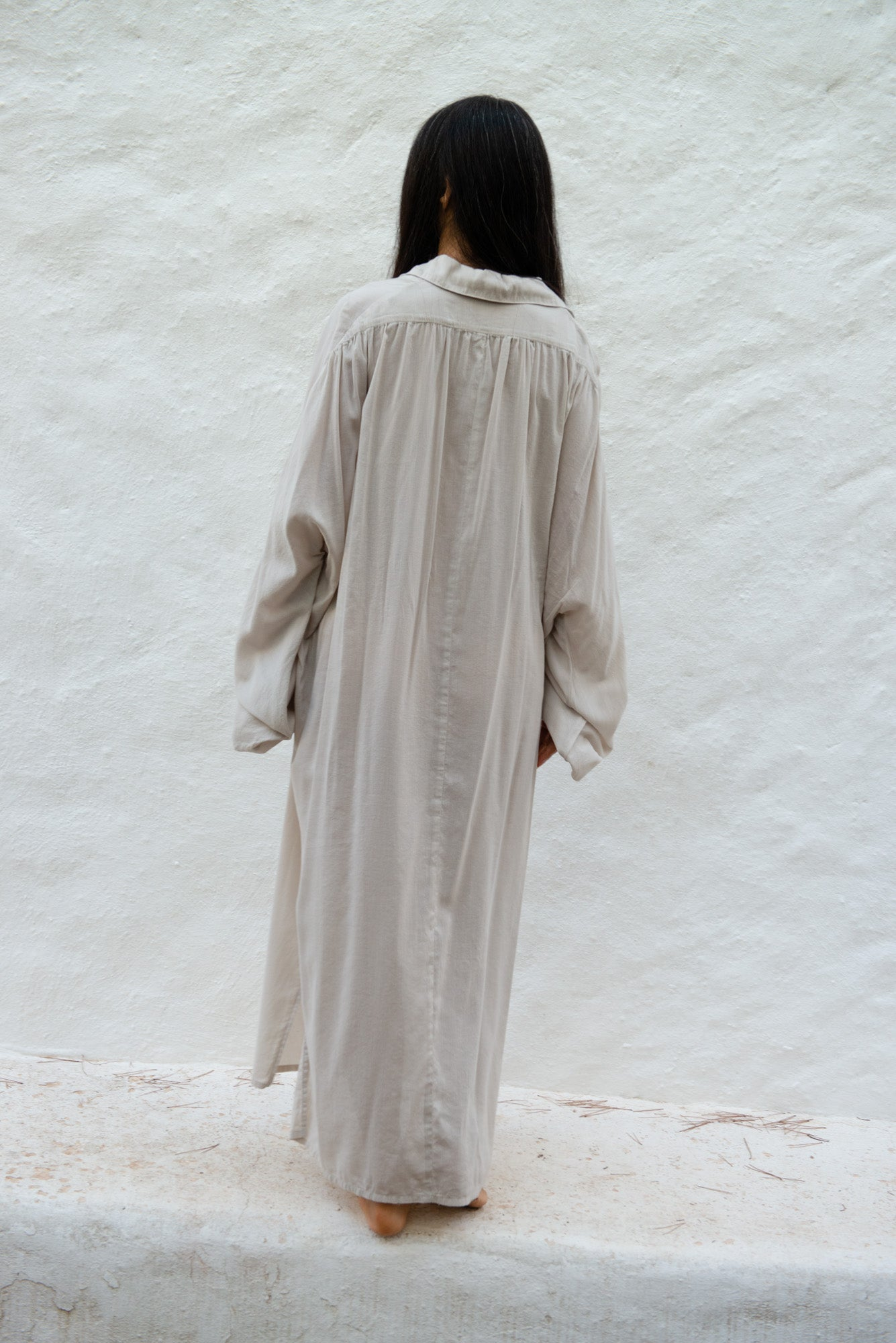 Long Blouse Dress in Cotton Modal