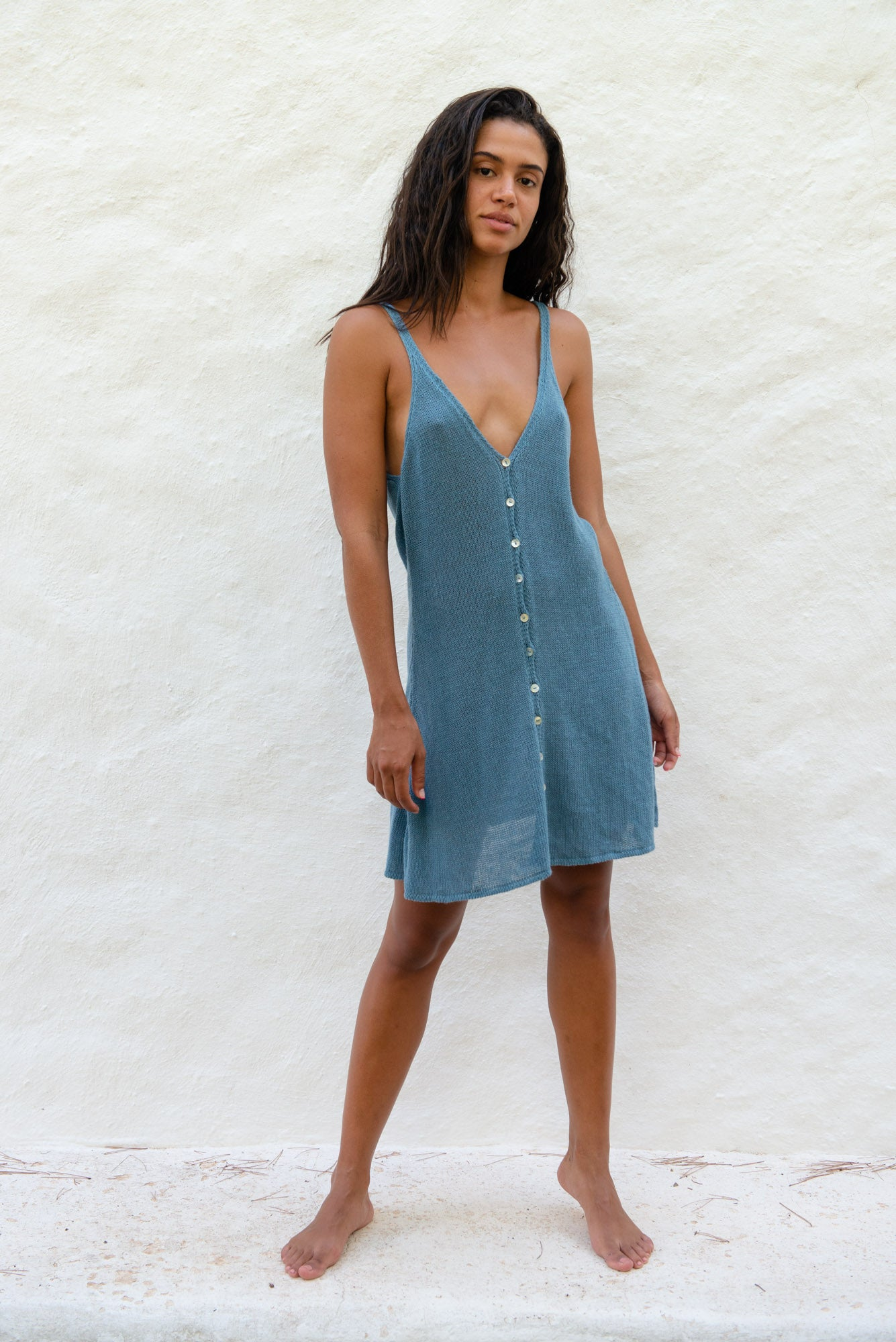 Short Recycled Linen Tank Dress