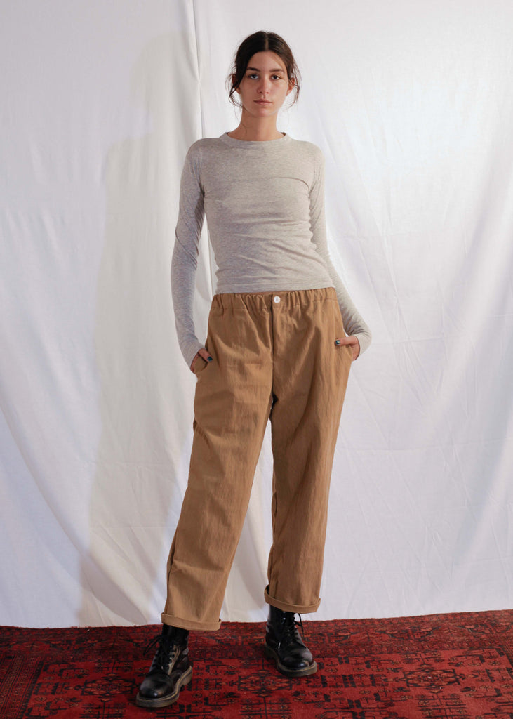 Waxy Cotton Pants in Beige