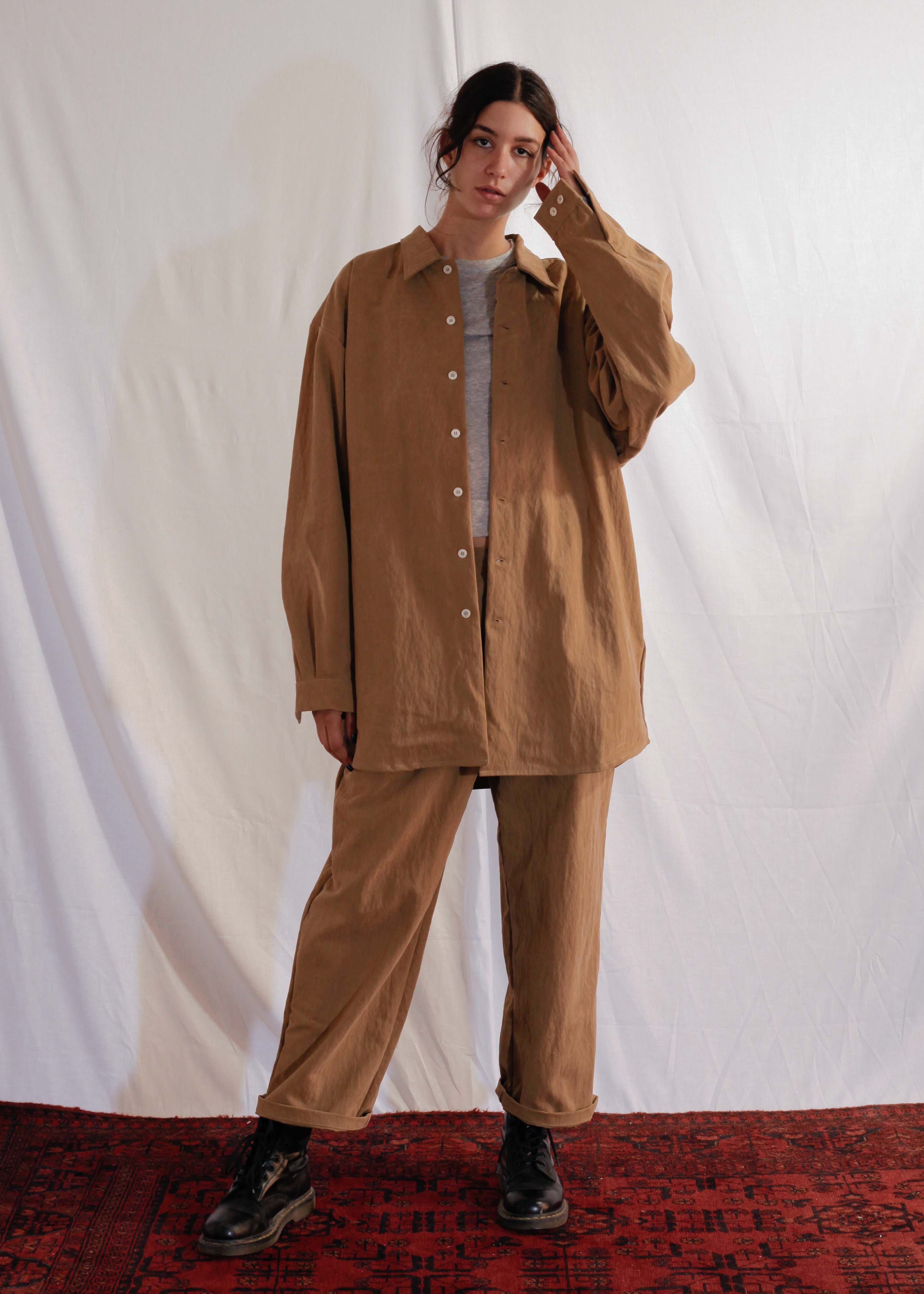 Waxy Cotton Shirt Mateo in Beige