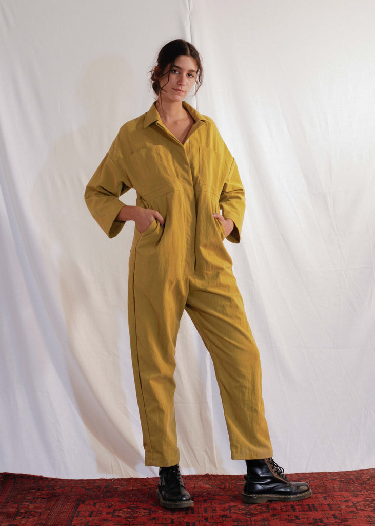 Waxy Cotton Mechanics Jumpsuit in Mustard