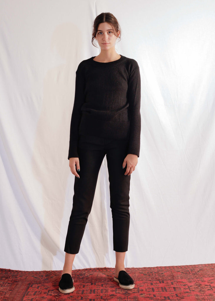 Slim Alpaca Pullover in Black