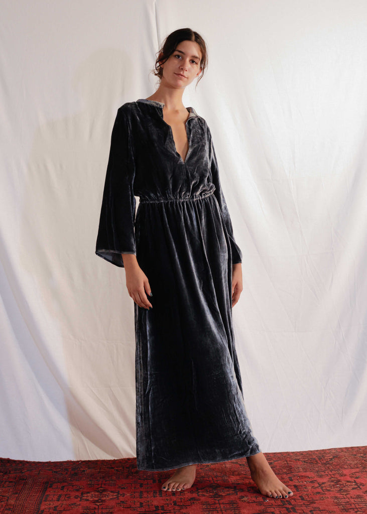 Viscose and Silk Velvet Dress in Blue Graphite