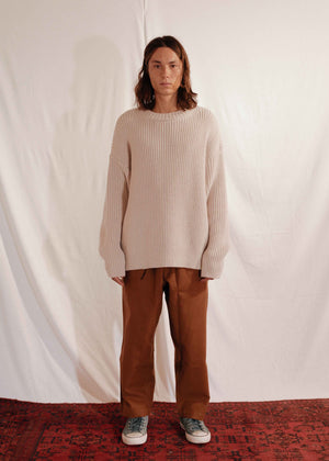 Chunky Unisex Knit Pullover in Off White