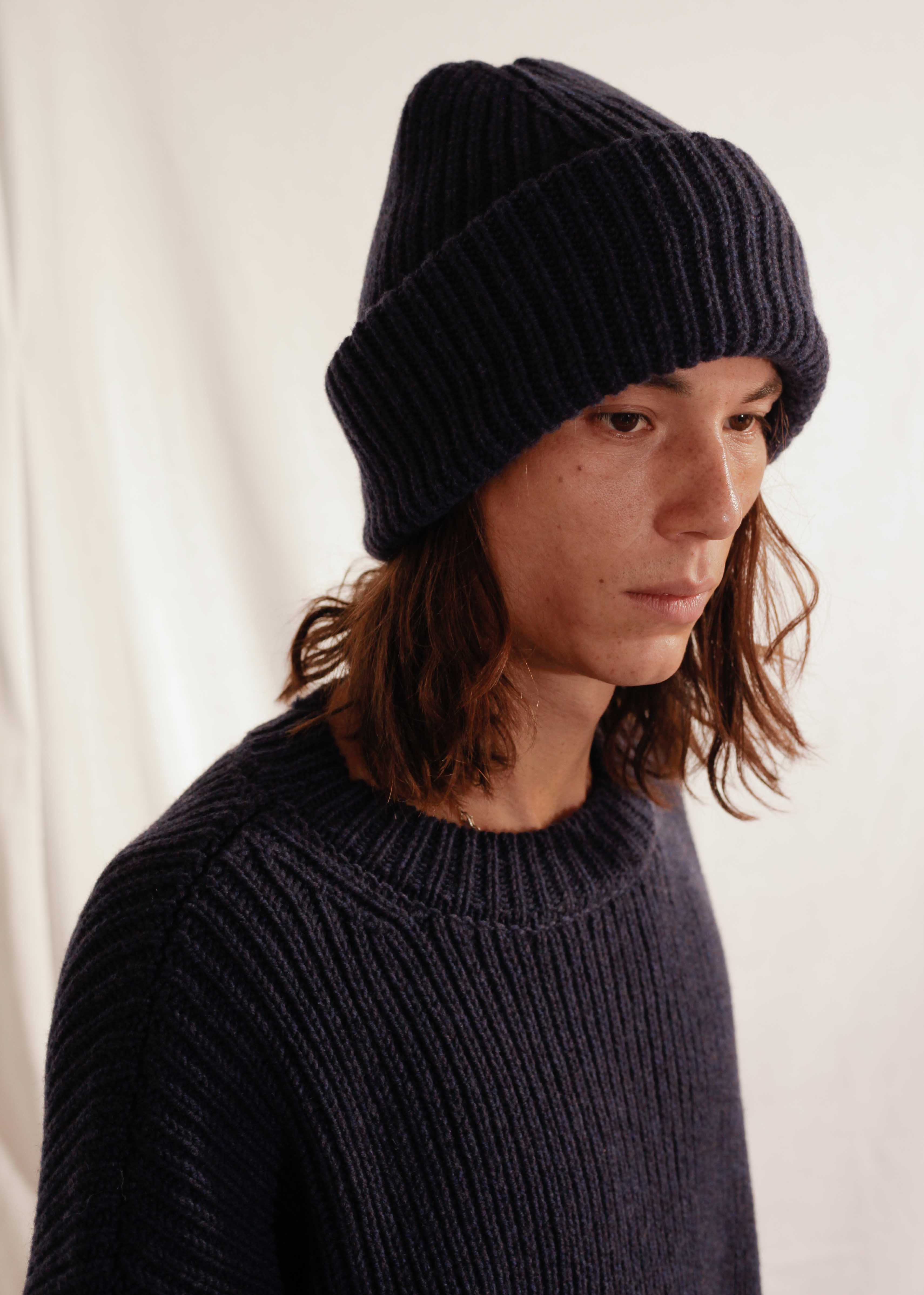 Chunky Knit Beanie in Navy