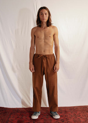 Oversized Cotton Pants in Brown