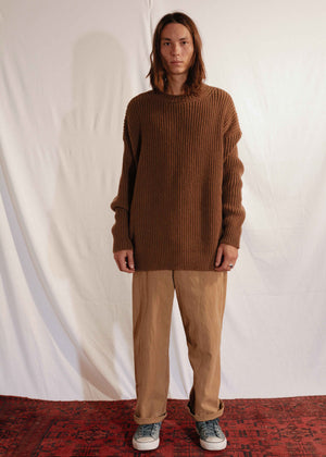 Chunky Unisex Knit Pullover in Brown