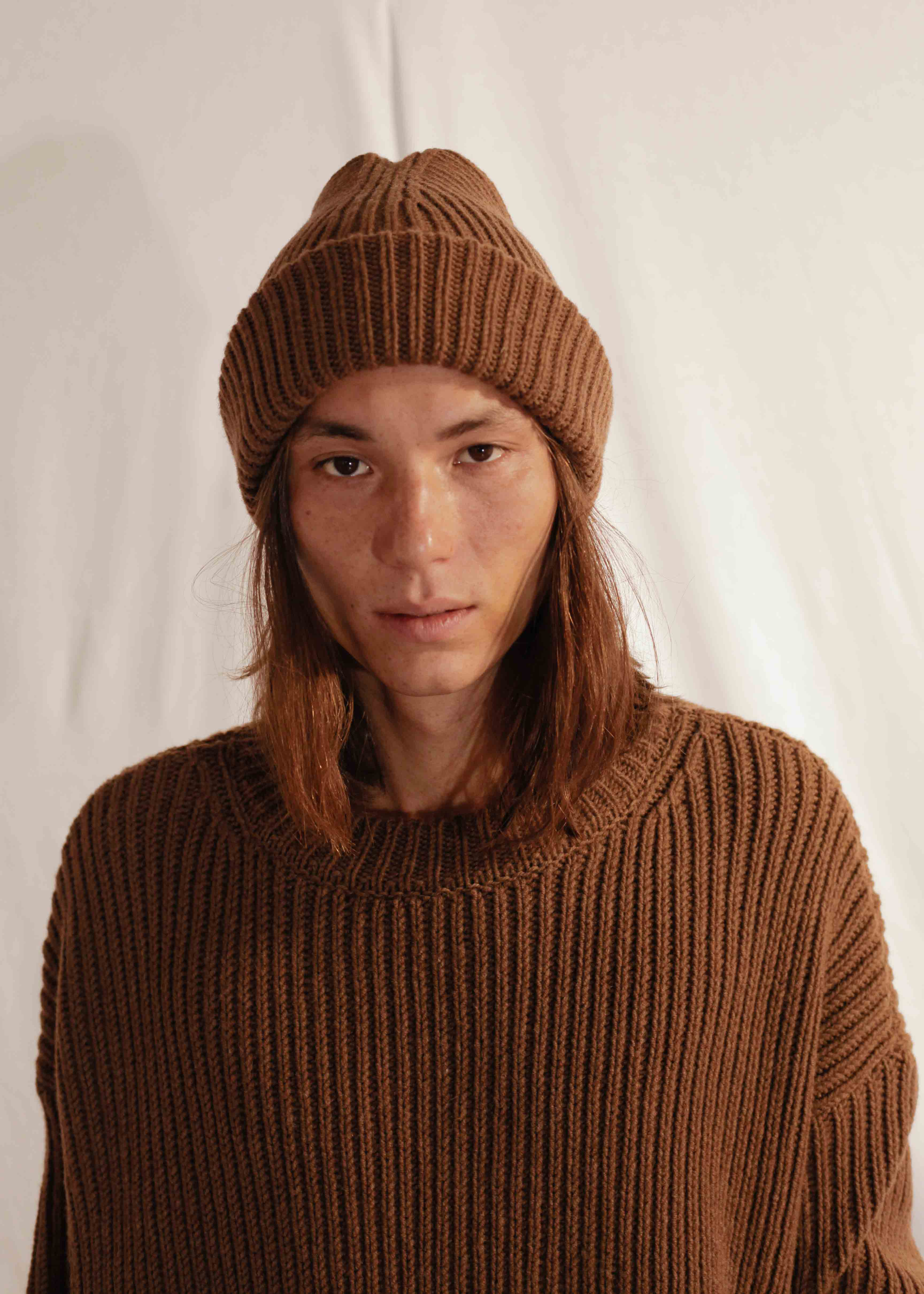 Chunky Knit Beanie in Brown