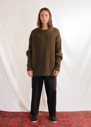 Chunky Unisex Knit Pullover in Forest Green