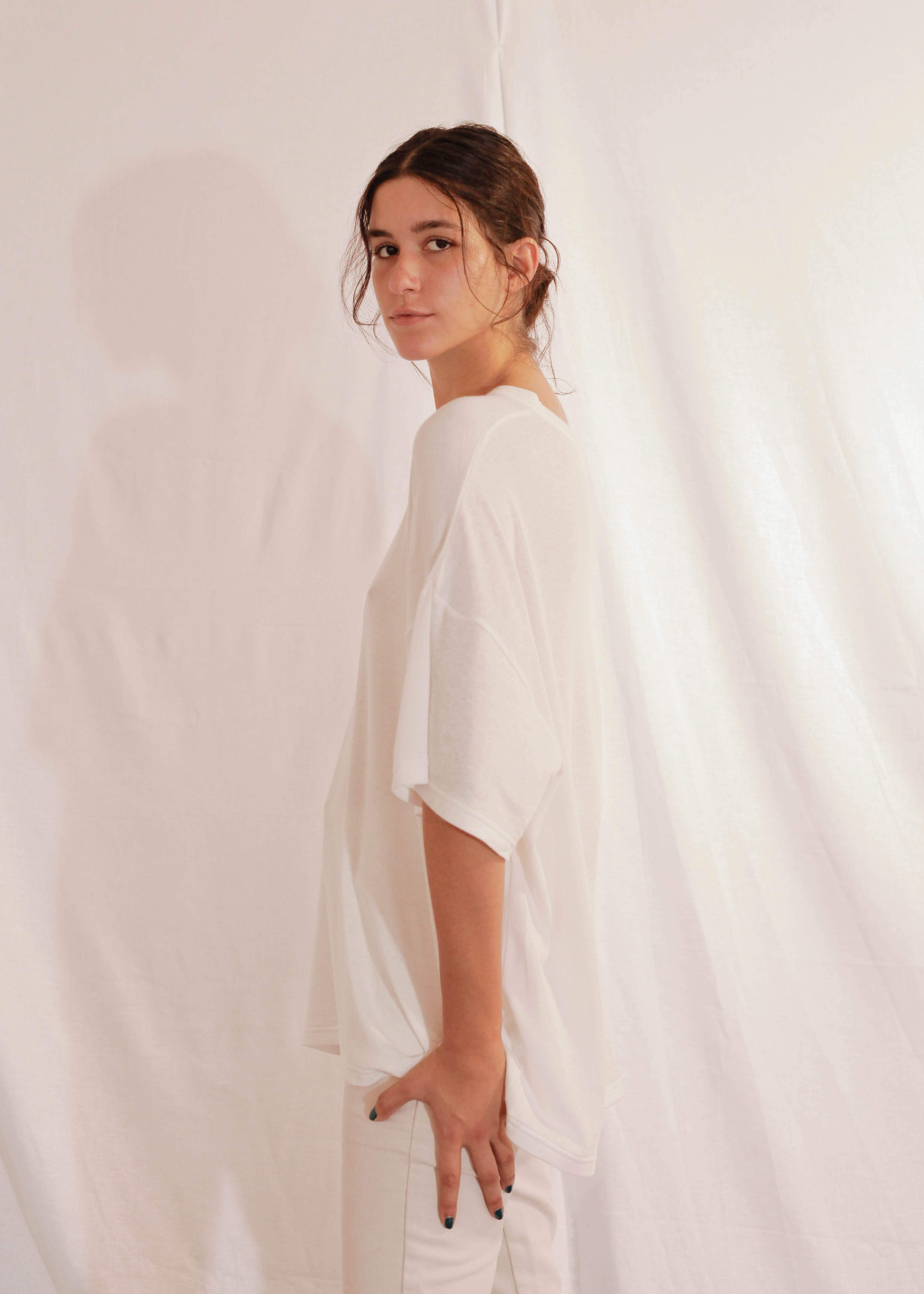 Cotton Silk T-Shirt in Off White