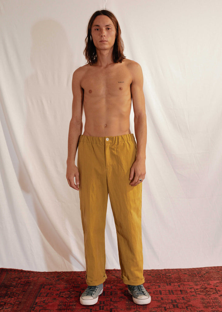 Waxy Cotton Pants in Mustard
